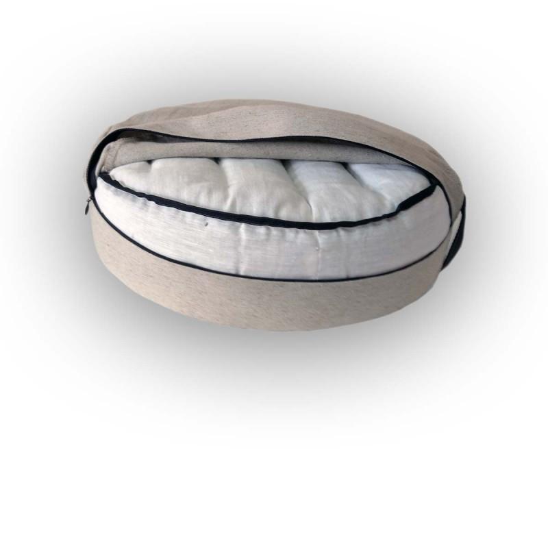 """Подушка-пуф для сидения и медитаций с наполнителем из гречихи  льняная """"LikeYoga"""" модель 25-20 (40x40 см, микромассаж, аэрация, терморегуляция)"""