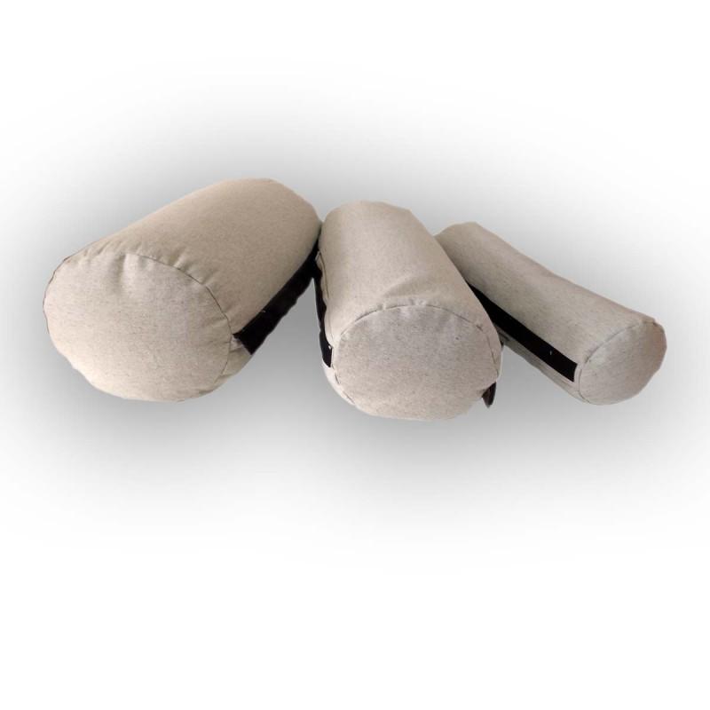 """Подушка-валик 3в1 льняной с наполнителем из гречихи """"LikeYoga"""" модель 27-20 (40x24x20/16/10 гипоаллерген, микромассаж, аэрация)"""