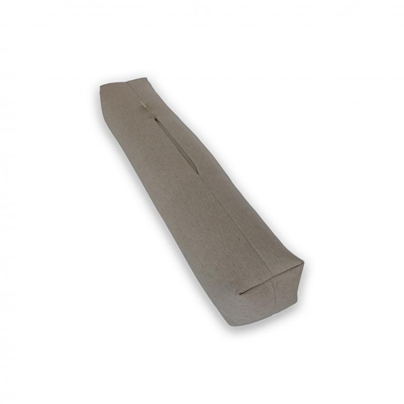 """Валик для шеи и спины универсальный льняной с наполнителем из гречихи """"LikeYoga"""" модель 25-16 (60x10x10 см, микромассаж)"""