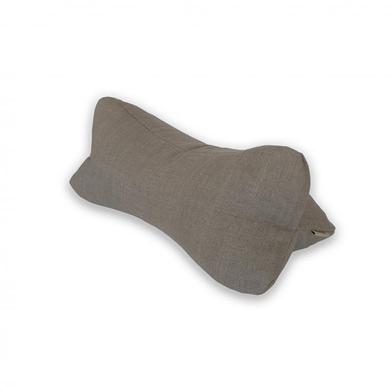 """Валик для отдыха и сна льняной с наполнителем из гречихи """"LikeYoga"""" модель 26-12 (48x18x16 см, гипоаллерген, микромассаж, аэрация)"""